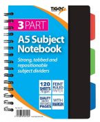 Tiger A5 3 Part Subject Notebook 120 Sheets